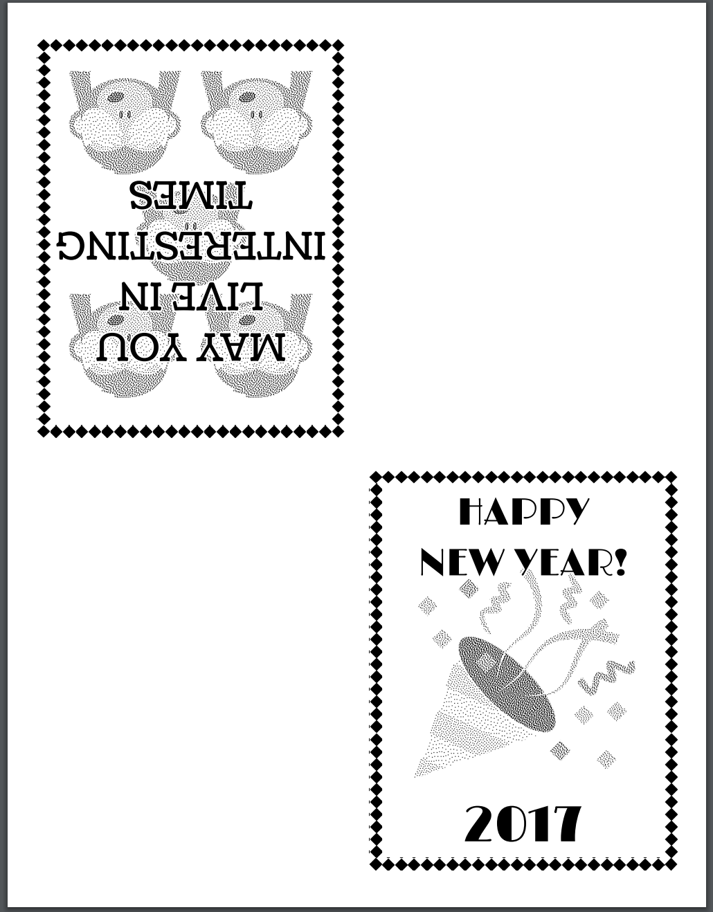 Print Preview of new years card